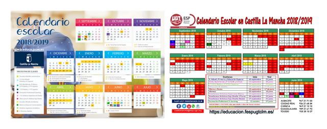 Calendario Escolar 2020 19 Almeria.Calendario Castilla La Mancha 18 19 Dual550 Ensenanza Fesp Ugt Clm