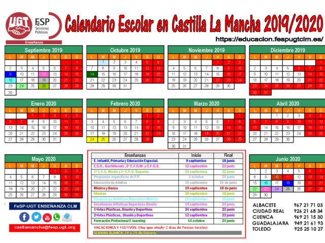 Calendario escolar 2019/2020 (FeSP UGT Enseñanza CLM)