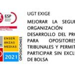 UGT Enseñanza Castilla-La Mancha insiste en la necesidad de una oposiciones seguras y en permitir que integrantes de bolsa no tengan que asistir a la primera prueba para mantenerse y que nuevos opositores (que no forman parte de ninguna bolsa) puedan no asistir a la prueba y entrar en bolsa igualmente.