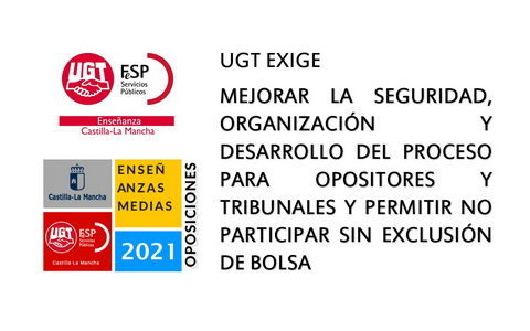 UGT Enseñanza insiste en la necesidad de mejorar la organización de las oposiciones y registra las medidas propuestas ante la Consejería.