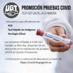 Promoción Pruebas COVID-19 – Ventajas afiliados y afiliadas FeSP UGT CLM