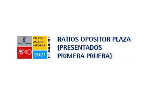 #UGToposicionesEEMMclm2021 – PRIMERA PRUEBA: ratios opositor-plaza (presentados primera prueba)